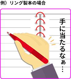 リング製本でリングが手にあたる例の画像です