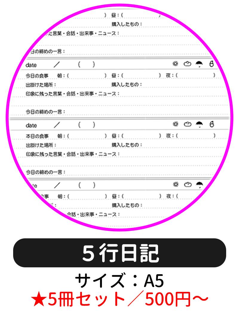 本文ページの罫線タイプを「5行日記」にして表紙デザインの選択に進む