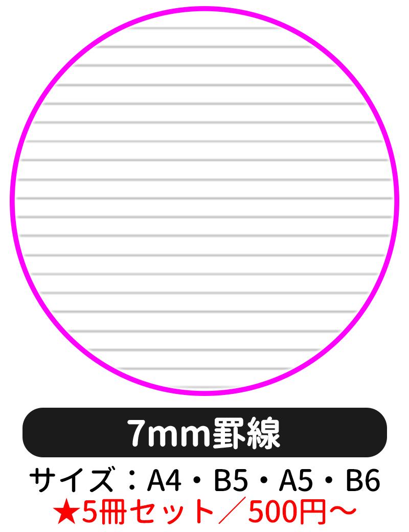 本文ページの罫線タイプを「7mm罫線」にして表紙デザインの選択に進む