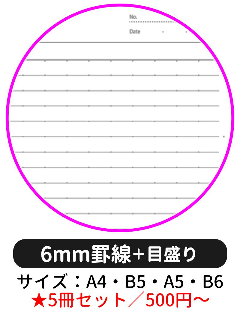 本文ページの罫線タイプを「6mm罫線(目盛り付き)」にして表紙デザインの選択に進む