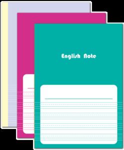 ベースラインのみ実線・他が点線の英語罫線を本文罫線にしたノート本舗のオリジナル商品です。対応サイズはB6・A5・B5・A4。5冊1セットで1,280円から。