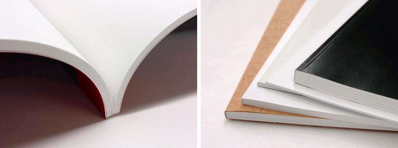 無線綴じは本文ページを表紙・裏表紙の紙でくるむように包み、糊で留める製本方式です。