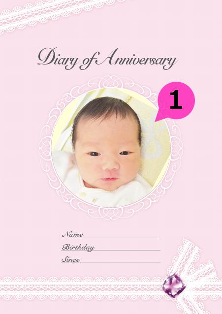 写真・ロゴ・文字の差替ノート「nc012(はじめて記念日帳)」の表紙デザインの画像です。