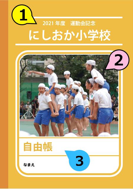 写真・ロゴ・文字の差替ノート「nc033_familiar-yellow」の表紙デザインの画像です。