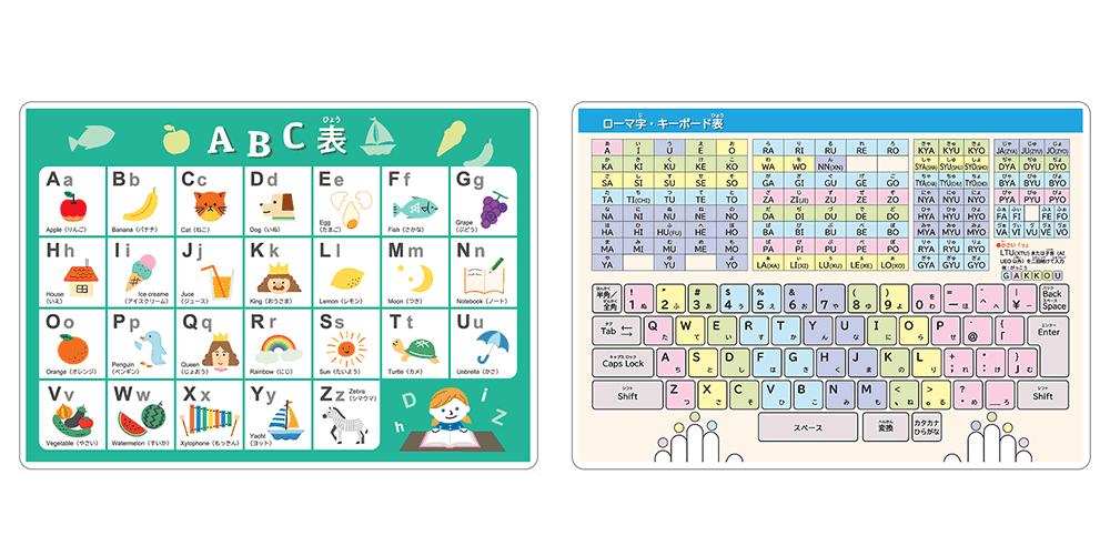 ノート本舗のオリジナル学習下敷きの商品「sn005(アルファベット一覧&ローマ字・キーボード表)」の両面拡大画像です。